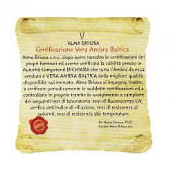 certificato Collana Ambra Cherry Bean Alma Briosa