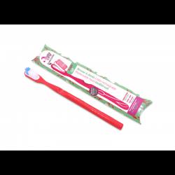 Spazzolino da denti rosso con testina ricaricabile setole morbide Lamazuna