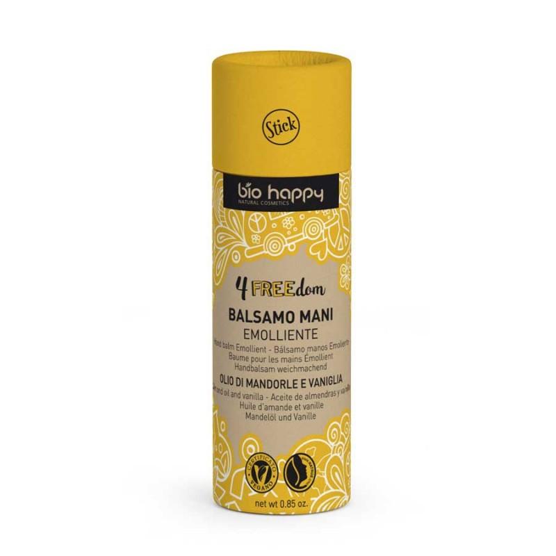 Balsamo mani stick emolliente Bio Happy linea cosmetici solidi plastic free 4Freedom.