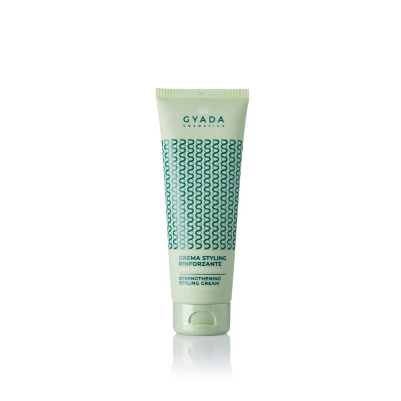 Crema Styling Rinforzante Con Spirulina senza risciacquo, per capelli sia ricci che lisci.